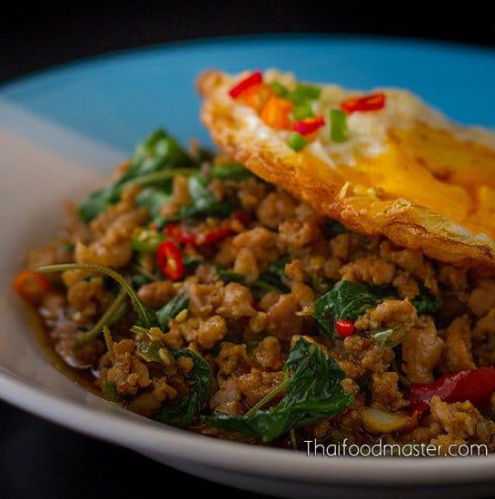 Stir Fried Pork With Holy Basil and Chilies - ผัดกะเพราหมูสับ, pad krapao moo sap