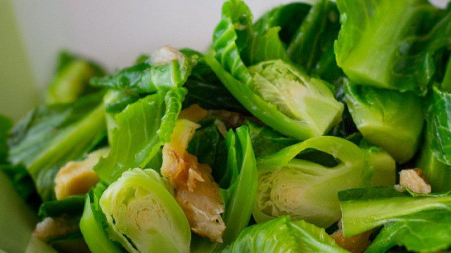 Stir-Fried Brussels sprout with Salted Queenfish ผัดแขนงปลาสละเค็ม ; phat kha naaeng bplaa sala khem