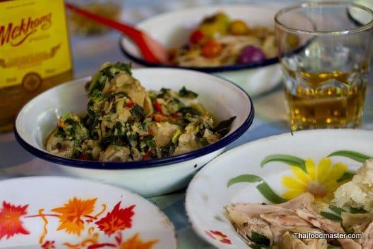 Braised Chicken in Thai Aromatic Paste (ไก่ใต้น้ำ gai dtai naam)