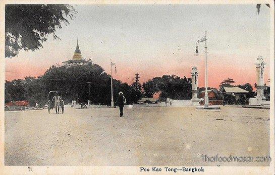Poo Kao Tong, Bangkok Street Scene by Y. Ebata. Coloured Post Card c1908-1912