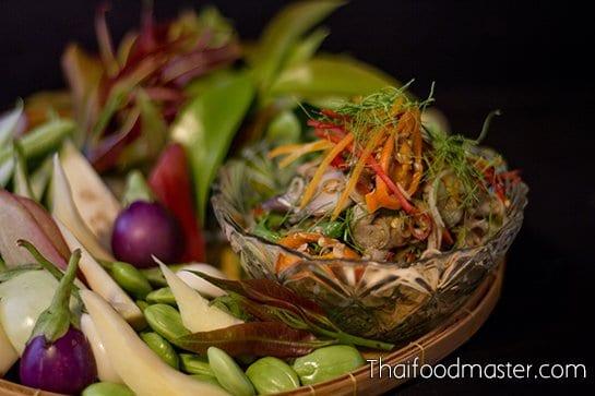 ไตปลาทรงเครื่อง ; Spicy Salad of Grilled Tiger Prawns, Mackerels, Lemon Grass and Aromatics with Infused Fermented Fish Innards Dressing