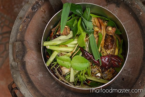 Southern Thai Ancient Fermented Fish Innards Curry with Grilled Catfish ; แกงไตปลาปลาดุกย่างโบราณ