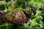 Thai Relish of Fermented Fish, Grilled Catfish, Pork and Shrimp (ปลาร้าผัดทรงเครื่องสูตรสายเยาวภา ; bplaa raa phat sohng khreuuang, suut saai yao wa phaa)